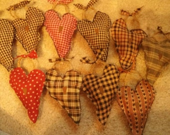 Primitive homespun heart hanging  orninment makes for a beautiful country look
