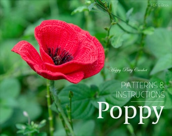 Crochet Poppy Pattern - Crochet Flower Pattern - Poppy Flower Pattern - Crochet Flanders Poppy