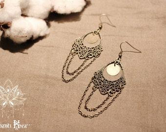 Earrings Bohemian bronze, arabesque and chain Pawai
