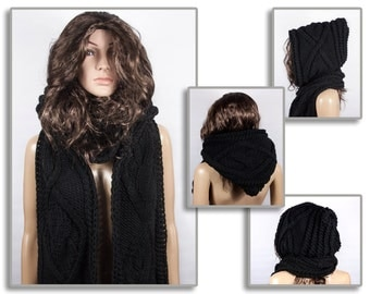 Scarf Long Hooded, Hooded Scarf, Long Scarf, Wool Scarf, Chunky Scarf, Scoodie Scarf, BLACK Hooded Scarf by LoveKnittings