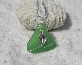Silver Leaf Charm on a Genuine Sea Foam Sea Glass Necklace on a Sterling Silver Chain