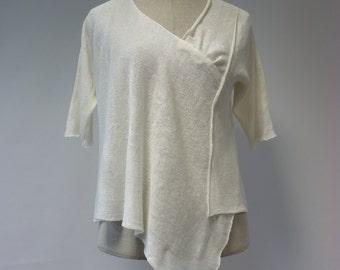 Delicate white linen irregular blouse, M size. Feminine look, handmade.