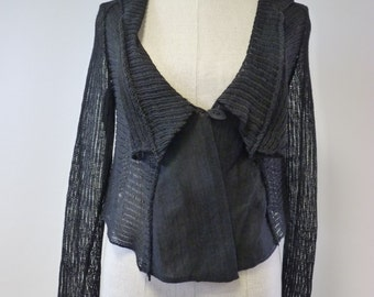 Amazing black linen short cardigan, s size. One-of-a-kind, handmade.