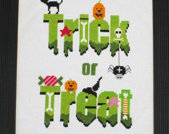 Trick or Treat Halloween Cross Stitch Pattern-pumpkins, candy, black cat, skull, spider, PDF, instant download