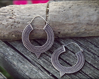 Silver earrings. Tribal jewelry. Hoop earrings.