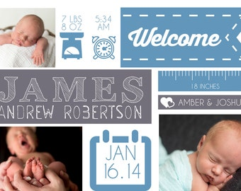 Birth Stat Icons Birth Announcement Boy or Girl Customized Printable Digital File Photo Collage Stats