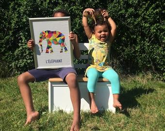 Poster elephant A4 'L'éléphant', Illustrator file, illustration, children's bedroom, nursery, instant download, AI file