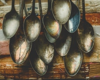 Vintage Spoons and Books Photograph