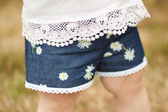 Denim Floral Baby Shorts Girl Shorts Toddler Shorts Cluny Lace Shorts Daisy Floral Toddler Shorts Floral Shorts Floral Baby Gift Denim
