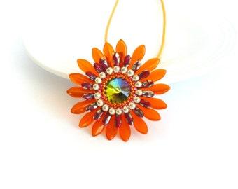 Beaded pendant, beadwork flower pendant, orange silver color, Gift idea