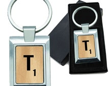 Monogram Wooden Letter T Rectangle Metal Keychain
