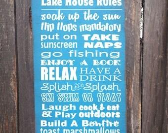 personalized lake house rules sign, personalized lake house decor, personalized lake sign, lake Tahoe, lake Michigan, lake superior, 48