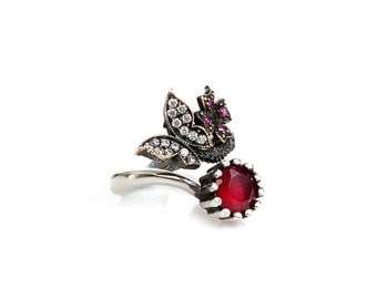 Authentc Ottoman style sterling silver ring for women ZB1030