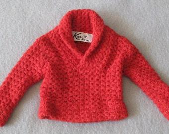 Vintage 1960s Mattel Ken Doll's Red Pullover Sweater