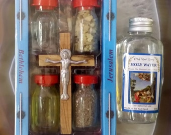 Jordan river holy water Baptism site 1.69 oz and 4 elemnts set with wooden cross from Jerusalem