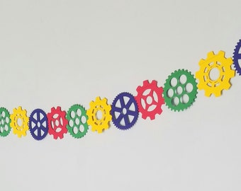 SteamPunk Gears Garland in Primary Colors For Baby Shower, Birthday Party, Baby Nursery, Colors, Red, Blue, Yellow, Green, Robot Theme Party