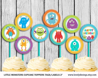 Little Monsters Cupcake Toppers , Little Monster  Party Printable, Monsters Toppers DIY, INSTANT DOWNLOAD Printable
