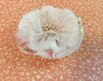 "Pink floral fabric blush pink fabric and lace flower with pearl  flower center. 3 1/2"" approx. rose gold metal"