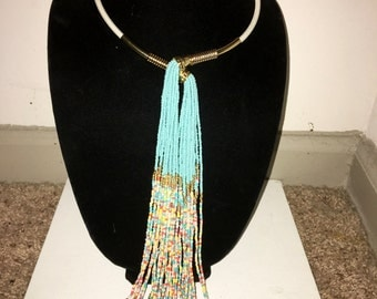 Choker with Multi-Strand and Color Beads Necklace