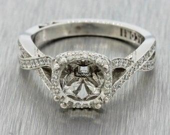 Tacori 18k White Gold Dantela .43ct Pave Diamond Halo Engagement Ring Setting