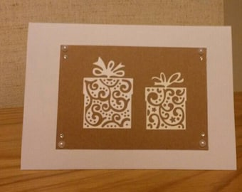 SALE Christmas card papercut style of Christmas presents. handmade