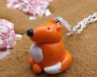 Handmade fox pendant, fimo animals, animal pendant, handmade fimo necklace, fox necklace, animal jewellery,