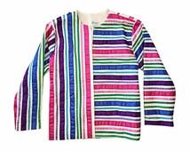 Tachi Castillo Vintage Ribbon Jacket ~ Vintage Mexican Kimono Jacket ~ Vintage Rainbow Top Jacket ~ Size Small Boho Hippie Mexico Coat