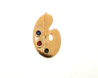 Artist Palette Brooch by Sardi Large Gold Scarf Pin