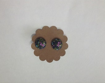 Purple and Grey Floral Covered Button Earrings
