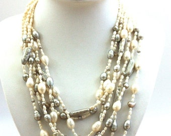 SALE - 20% OFF White and Grey Fresh Water Pearls Silver Necklace,  7 Strands Pearl Silver Necklace, Multi Strands Pearl Necklace