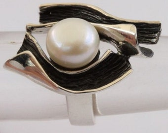 Pearl Ring, Silver White Pearl Ring, White fresh water pearl ring 92.5 sterling silver, multi tones pearl ring