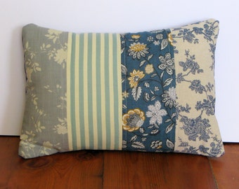 Handmade Patchwork Vintage Cottage Style Cotton Lumbar Cushion/Pillow/Travel Pillow/Throw pillow/Scatter Cushion