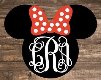 Minnie Mouse Head Monogram Decal   Disney Decal   Disney Monogram