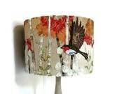 Robins in flight lampshade, embroidered robin lampshade, custom lampshade, table lampshade, British garden bird, flying robin, MADE TO ORDER