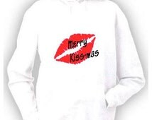 Merry kiss-mas ladies printed hoody hoodie S-XL xmas christmas funny cute santa stocking filler