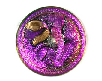 Gold w/ pink reflection tulip 32mm Czech glass button. One button.