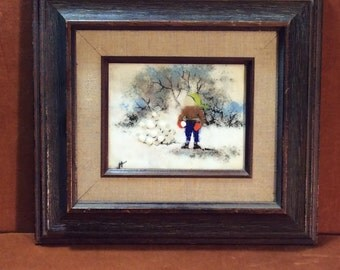 vintage enamel on copper winter scene picture by Joyce