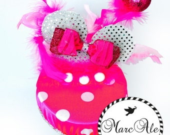 Fuchsia and White Polka Dot Party Hat