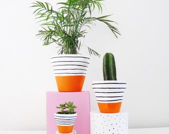 Handpainted Plant Pot Orange Stripe
