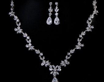 Bridal Necklace Set CZ Rhodium Plated Prong Set