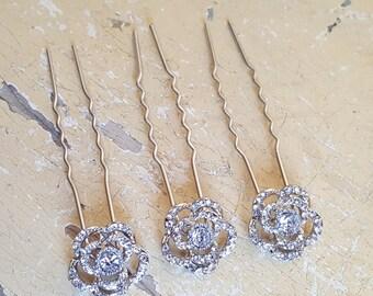 Bridal CZ Hair pins Rhoduim plated / Wedding hair pins / Sparkly CZ Swiss (set of 3)