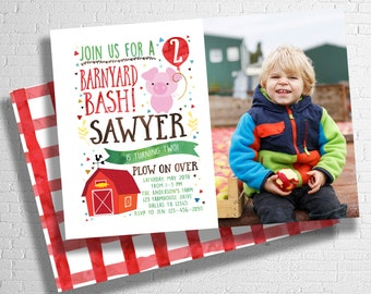 Farm Birthday Invitation | Barnyard Birthday Invitation| Farm Animal Birthday Invite | Rooster, Pig, or Cow | DIGITAL FILE ONLY