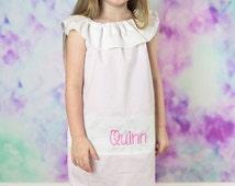 Pink Seersucker Monogram Easter Dress,Girls Easter Dress, Girls Monogram Dress, Girls Seersucker Dress, Monogram Peasant Dress