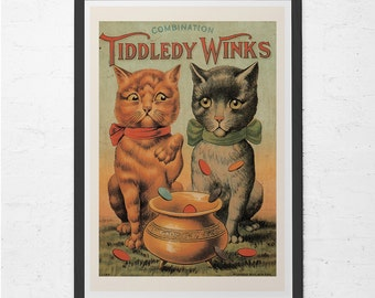 ANTIQUE CAT POSTER - Tiddledy Winks Cat Print - Cat Lover Poster, Vet's Wall Art, Cat Lady Poster, Ribba Size Home Decor