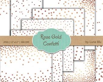 """Confetti Digital Paper: """"Rose Gold Confetti"""" Rose Gold Digital Paper, White and Rose Gold Foil Scrapbook Paper, Gold Confetti"""