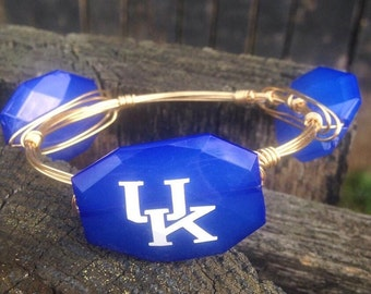 UK Wildcats (University of Kentucky)  Bead with Gold Wire Wrapped Bangle Bracelet (Inspired by Bourbon and Bowetie) Valentines, Spring