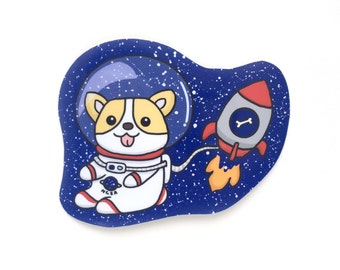 Space Corgi Vinyl Sticker-Vinyl Stickers-Welsh Corgi-Stickers-Laptop Stickers-Planner Stickers-Dog Stickers-Cute Stickers-Space Stickers