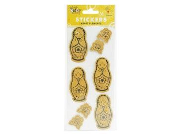 Mont Marte Scrapbooking Stickers Printed Babushka Dolls 8pce For Scrapbook Craft
