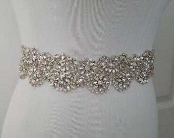 Beaded bridal sash crystal wedding belt sash, Style 188