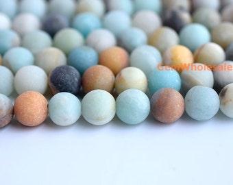 "15"" Matt finish Natural amazonite 8mm/10mm/12mm round beads, semi-precious stone,multi color DIY beads, gemstone wholesaler"